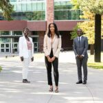 ELITE program student Severino Asumu, Professor Sedami Gnidehou, student Yanela Gonzalez Sanchez, Professor André McDonald and student Imani Murray